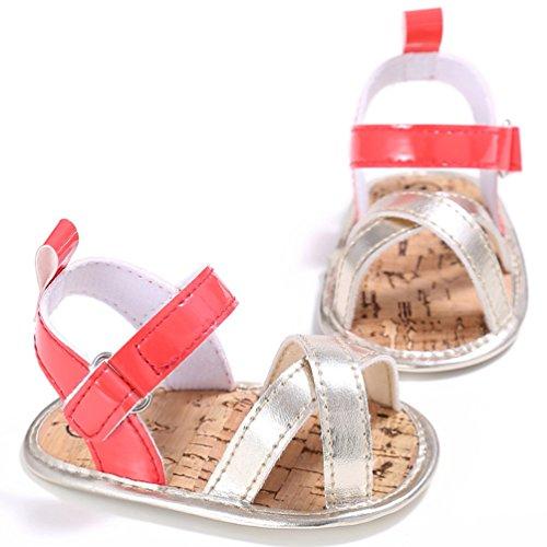 CHENGYANG Baby Mädchen Sandalen Kleinkind Erste Wanderer Kinder Lauflernschuhe Schuhe Rot