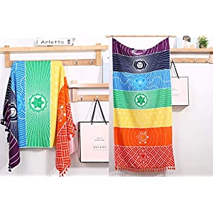 Neasyth Chakra Tapestry Meditation Yoga Rug Towels Mexico Chakras Tassel Striped Floor Mat 59 in (Soft Microfiber (Like Cotton), 59x30in)