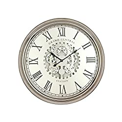 Benzara Metal Silver Wall Clock 24 D, Diameter, Polished Finish