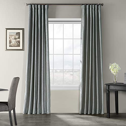 (Half Price Drapes PDCH-KBS7-120 Vintage Textured Faux Dupioni Silk Curtain, 50 x 120, Storm Grey)