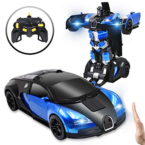 Ursulan RC Cars Robot for Kids Remote Control Car Transformers Gesture Sensing Toys with One-Button Deformation and 360°Rotating Drifting 1:14 Scale Best Gift for Boys and Girls- Blue -