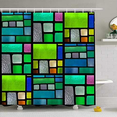 Tone Multicolored Glass - Ahawoso Shower Curtain 72x72 Inches Multicolored Green Mosaic Stained Glass Window Pattern Bluegreen Tone Blue Color Emerald Cross Church Waterproof Polyester Fabric Set with Hooks