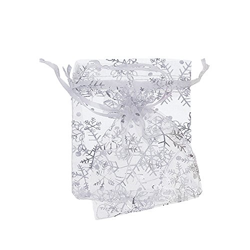 cbd25f58cfc6 BZCTAH 100 Pcs Transparent Organza Bags Drawstring Jewelry Bags, 13 x 18cm  Multicolor with Drawstring Gift Pouch Candy Bags, White&1