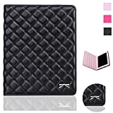 quilted case ipad air - iPad Air Case - Bestwo Quilted Premium PU Leather Embroidered Hearts Design Cover for Apple iPad Air 2013 Model - Black