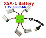 sea jump accessories parts helicopter Spare cover 5 PCS 3.7V 380 mAh Li battery +1 PCS charger (USB) for SYMA X5A-1 Remote control aircrft/flying machine