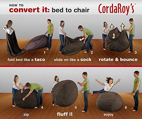 CordaRoy's Chenille Bean Bag Chair, Espresso, Full