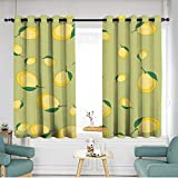 home1love Thermal Insulated Blackout Curtains W 63' XL 45' Seamless Pattern with Cartoon Lemons Fruits Repeating Background Wallpaper 589