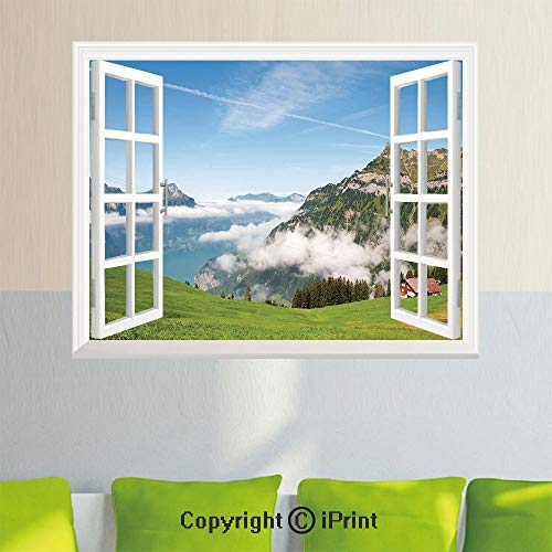 Lucerne Medium Wall - Fashion Wall Sticker,Pastoral View Switzerland Lake Lucerne Cloudy Grassland Pines Altdorf Uri,35.4X 23.6inch,Fake Window Simulation Stickers,Home DecorBlue Green White