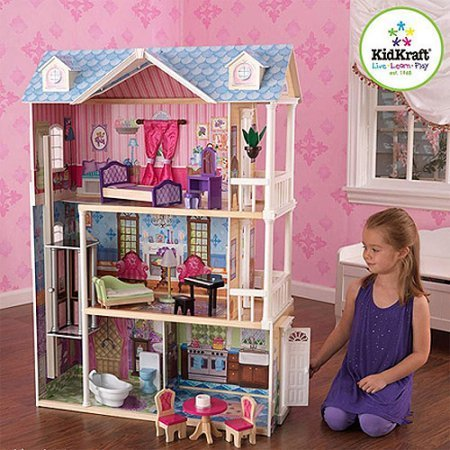 kidkraft-my-dreamy-wooden-dollhouse-with-14-pieces-furniture