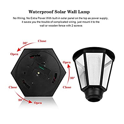 Houkiper Wall Lamp - Waterproof Solar LED Hexagonal Light Lamp Exterior Sconce Lantern Light Auto ON/OFF At Night for Outdoor Landscape Garden Fence Yard (warm)