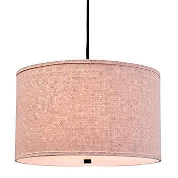 Catalina Lighting 19867-001 Traditional 3 Fabric Pendant Ceiling Light with Diffuser on Bottom, 18-inch, Bronze