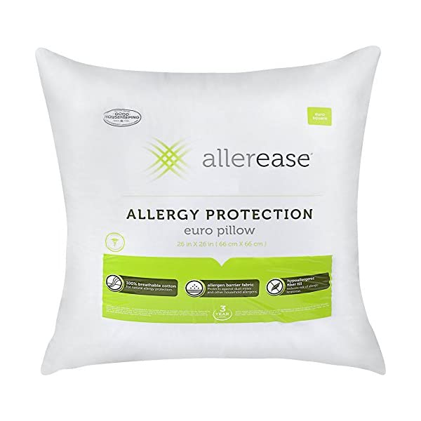 AllerEase-Cotton-Allergy-Protection-Hypoallergenic-Euro-Pillow-3-Year-Warranty-Machine-Washable-Pack-of-2