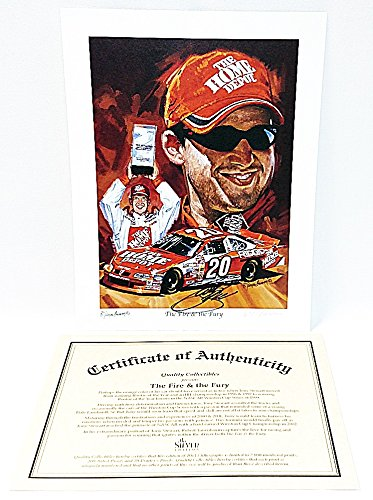 Tony Stewart 2002 Home Depot - AUTOGRAPHED 2002 Tony Stewart #20 The Home Depot Racing THE FIRE AND THE FURY (Artist Robert Tanenbaum) Signed PictureQuality Collectibles 10X13 Inch Lithograph Print with COA (#0677/2000)