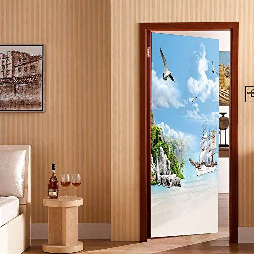 MTCYZM 3D Door Sticker 2 Panels Seabirds and Sailboats On Beach Mural Wall Stickers Door Sticker Wallpaper Decals Home Decor