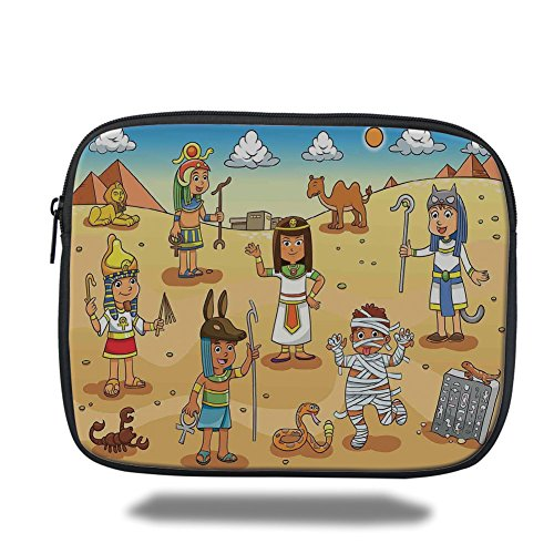 iPrint iPad Bag,Cartoon,Historical Egyptian Characters with Pyramids Cleopatra King Mummy Child Decor, Multi,Bag