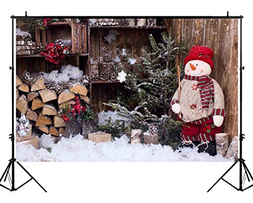 (Funnytree 7X5ft Vintage Wooden House Snowman Backdrop Christmas Rustic Wood Snow Pine Tree Background Children Newborn Baby Interior Photography Portrait Photo Studio Photobooth Props)
