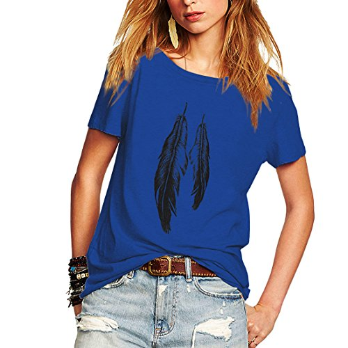 Weigou Summer Woman T Shirt Street Style Feathers Printed Short Sleeve T-Shirt Casual Loose Lady Tops Juniors Tees (M, Blue (1))