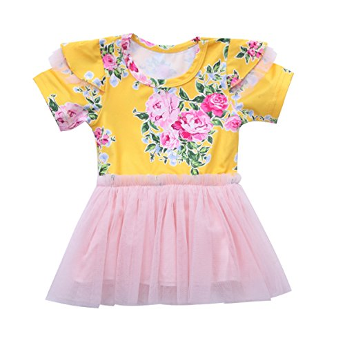Mornbaby Baby Girl Tulle Tutu Dress Toddler Kids Girl Peony Floral Sunsuit Dress Party Wedding Clothing Outfit (Yellow, 6-12M) (Peony Dress Tutu)