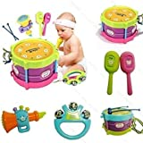 HOT New! 5pcs Novelty Kids Roll Drum Musical Instruments Band Kit Children Toy Baby Gift Set