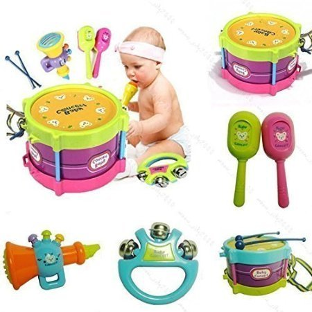 HOT New! 5pcs Novelty Kids Roll Drum Musical Instruments Ban