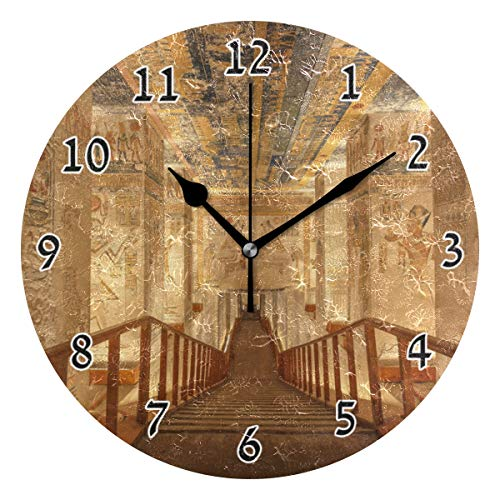 - HSGRSSGF Home Decor Tomb Egypt Ancient Round Style C,Silent Non -Ticking Wall Clock, Battery Operated Art Decorative for Kitchen,Living Room,Kids Room and Coffee (10 Inch)