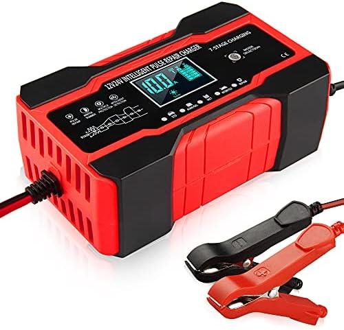 10-Amp Car Battery Charger, 12V and 24V Smart...