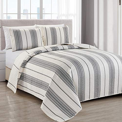 Wesley Collection 3 Piece Quilt Set with Shams. Reversible Modern Bedspread Coverlet. Machine Washable. (King, White/Grey) (Cream Sets And Black Bed)
