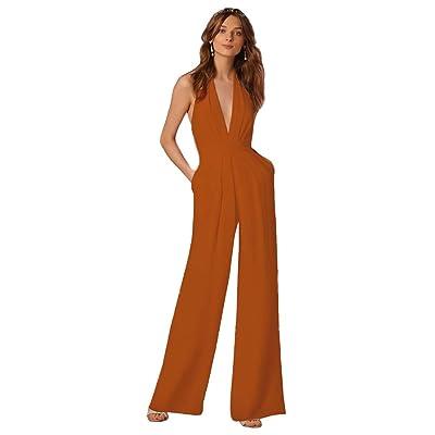 CHIYEEE Femmes Jumpsuit Sans Manches Partie de Soirée Halterneck Combinaisons Rompers Pantalons Orange L