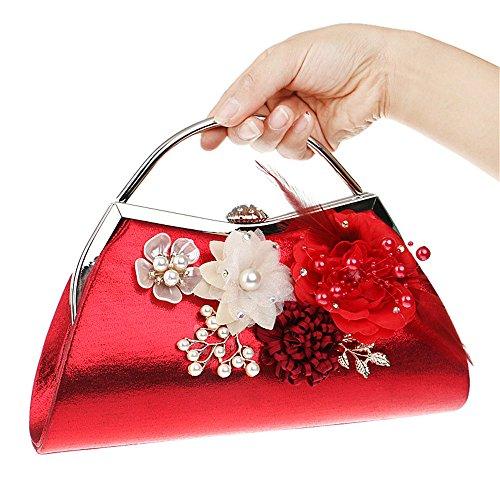 Gxycp Evening Bag Women Clutch Bag Flower Crossbody Shoulder Bag Cosmetic Bag Wallet Wedding Party, Black Red