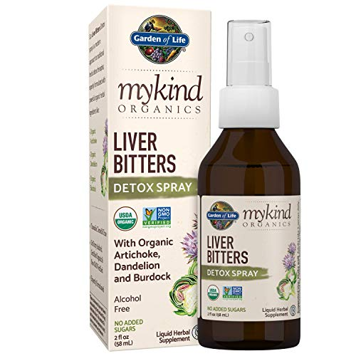Garden of Life mykind Organics Liver Bitters Detox Spray 2 fl oz (58 mL) Liquid,  Artichoke, Dandelion & Burdock, Alcohol Free, No Added Sugar, Organic, Non-GMO, Vegan & Gluten Free Herbal Supplement