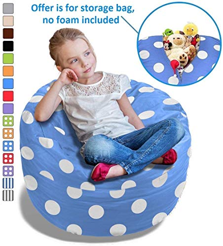 Price comparison product image BeanBob Stuffed Animal Storage Bean Bag Chair in Blue w / Polka Dots - 2.5ft Large Fill & Chill Space Saving Toy Organizer for Children - For Blankets,  Teddy Bears,  Clothes & Bedding