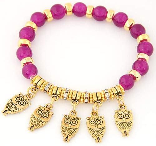 TZNGYSP Gold Color Lucky Owl Bracelet Charm Classic Beads Beaded Bracelets /& Bangles Jewelry for Women Pulseras