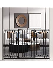 """WAOWAO 40.55 inch Extra Tall Wide Baby Gate Pressure Mounted Walk Through Swing Auto Close Safety White Black Metal Kids Child Toddler Dog Pet Puppy Cat for Stairs, Doorways, Kitchen 22.83-87.80 inch(Black, 68.50""""-71.62"""")"""