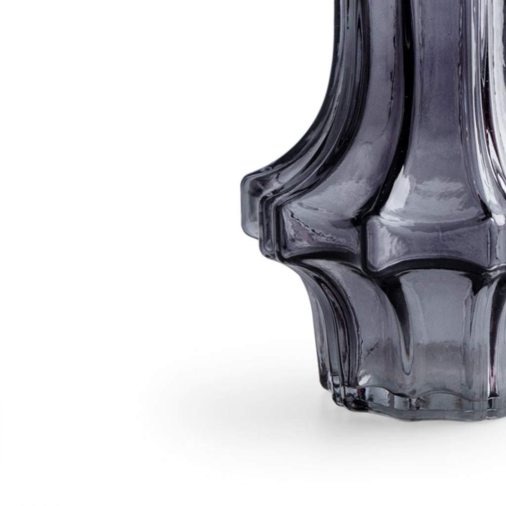 Black Velvet Studio Vaso Roma Trama a Righe Cristallo 21x17x17 cm. Color Grigio