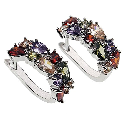 Classic Multi Gemstones Silver Sets, Amethyst Garnet Morganite Peridot (Earrings-B)