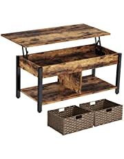 Rolanstar Coffee Table, Lift Top Coffee Table with Rattan Baskets and Hidden Compartment, Retro Central Table with Wooden Lift Tabletop and Metal Frame, for Living Room, Rustic Brown