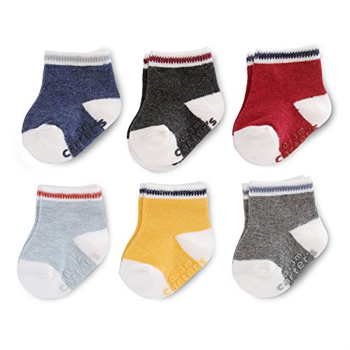 Carter's Baby Boys Crew Socks (6 Pack), Color Blocking Heathered, 3-12 Months