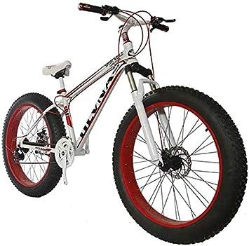 Bicicleta 26 Tamaño De La Rueda Y Hombres Género Bicicleta Gorda De Snow Bike, Moda MTB 21 Velocidad Suspensión Completa Acero Doble Freno De Disco Bicicleta De Montaña Bicicleta MTB,White: Amazon.es: Deportes