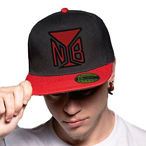 Naughty Boy Black Red Cap Original Gorra Snapback Unisex, Ajustable, con Visera Plana y Logotipo Urbano Bordado.