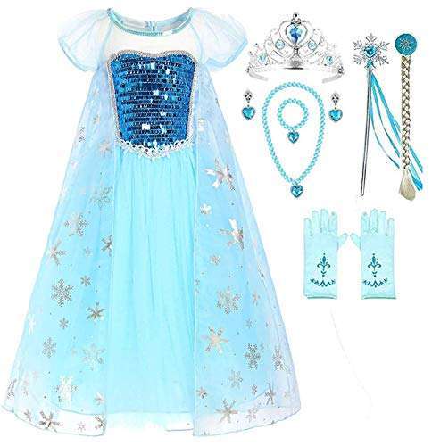 Romy's Collection Snow Queen Elsa Party Dress (6-7, Blue) -