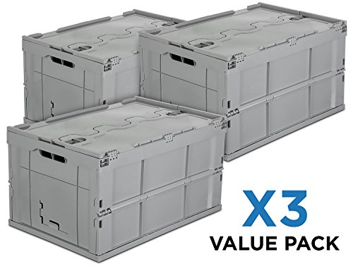 Mount-It! Folding Plastic Storage Crate, PACK OF 3, Collapsible Utility Distribution Container with Attached Lid, 65L Liter Capacity Liter Bin