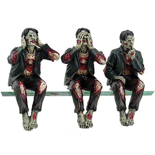 Walking Undead Wise Zombie Walkers See Hear Speak No Evil Shelf Sitters PC Topper Figurines