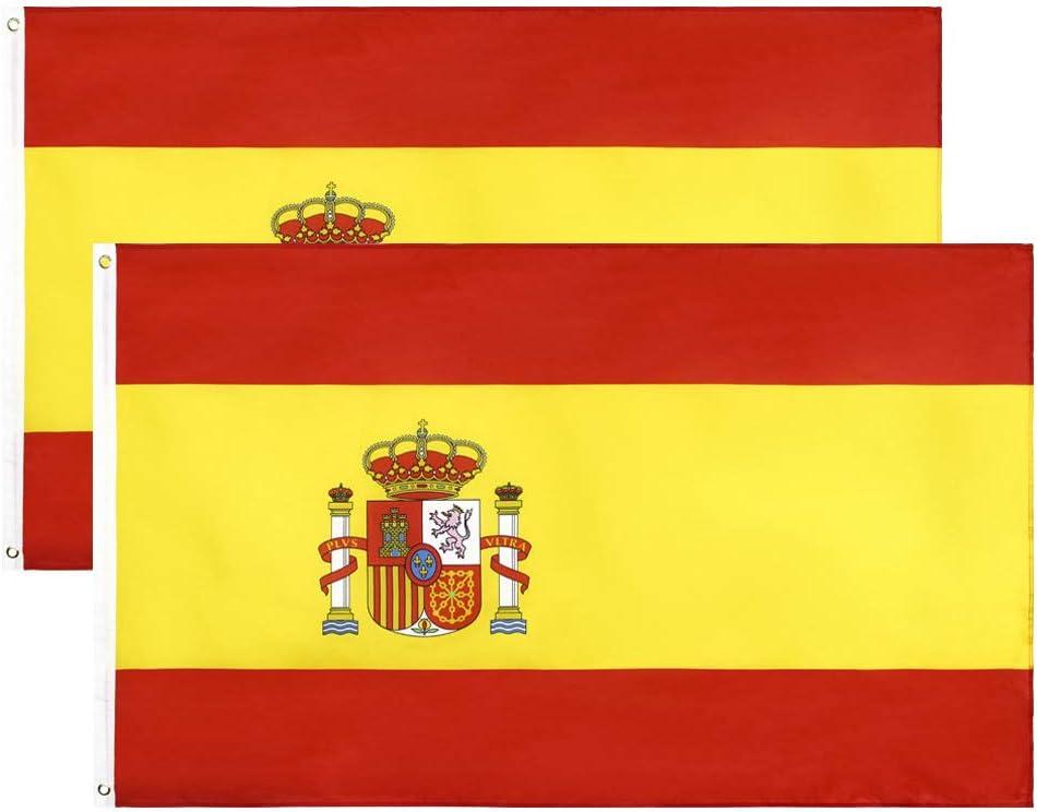 YHmall Bandera España, 2pcs Bandera de España Grande, 90 x 150 cm, Bandera de Conferencia, Bandera de Jardín, Bandera de Desfile, Bandera de Fútbol