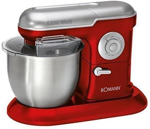 Bomann KM 383 CB Robot de Cocina para Masas Varillas para Montar Color Rojo Plateado 1200 Vatios: Amazon.es: Hogar