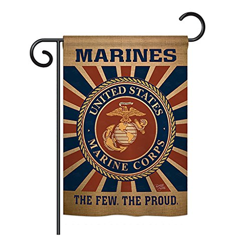 "Breeze Decor - Marine Corps Burlap Americana - Everyday Military Impressions Decorative Vertical Garden Flag 13"" x 18.5"" Printed in USA from Breeze Decor"