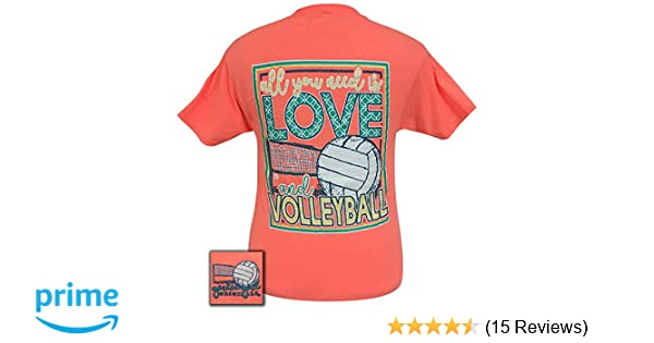 Girlie Girls All You Need is Love and Volleyball Short Sleeve T-Shirt at  Amazon Women s Clothing store  70cbbce8760f