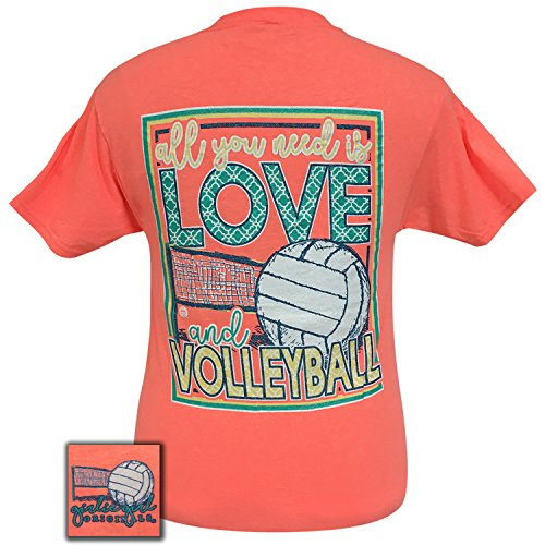 Girlie Girls All You Need is Love and Volleyball Short Sleeve T-Shirt (Medium) (Sleeve Short Volleyball T-shirt)