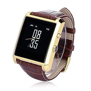 Amazon.com: LEMFO Bluetooth Leather Smart Watch with