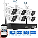 Wireless Security Camera System, Firstrend 8CH 1080P NVR Security Camera System with 6pcs 1.3MP IP Security Camera with 65ft Night Vision and HD Live Video, P2P Home Security Camera System