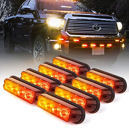 Xprite Red & Amber/Yellow 4 LED 4 Watt Emergency Vehicle Waterproof Surface Mount Deck Dash Grille Strobe Light Warning Police Light Head with Clear Lens - 8 Pack
